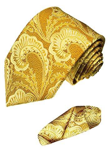 Lorenzo Cana - Marken 2 er Set 100{051fd9ce7ee8c06041e1b41279ab9428d1dd69f42fc00942feea4a7a4051af16} Seide - Festliche Krawatte mit Einstecktuch Gold Gelb Paisley - 8424101