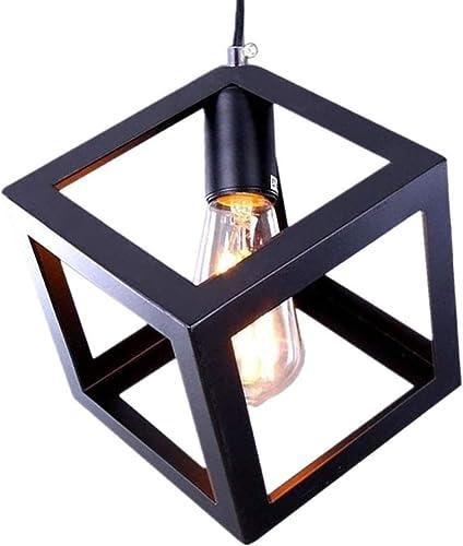 Kimmyer Pendentif lumière rétro Style Plafond Abat-Jour Cage Suspendu lumière Pendentif lumière E27 Base Noir métal Puzzle Cube Design créatif personnalité escalier Restaurant