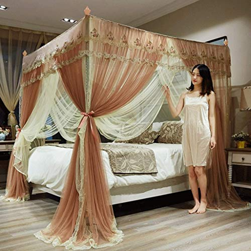 Lowest Prices! LBSX 4 Corner Poster Princess Bedding Curtain Canopy Mosquito Netting Canopies Ouble ...