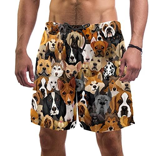 RuppertTextile Pantalones Cortos Hombre Bañadores Secado rápido Bolsillos CordónVector Perros Diferentes Razas Trajes baño Playa Deportivos Casuales