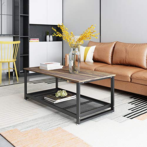Coffee Table,47 Inch Industrial Living Room Table with Storage Shelf and Metal Frame Wood Look Rectangular Center Table Easy Assembly