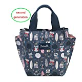 Lunch Bag Box Tote Handbag with Water Bottle Holder for Women Mom Snack Bag(Owl Print)