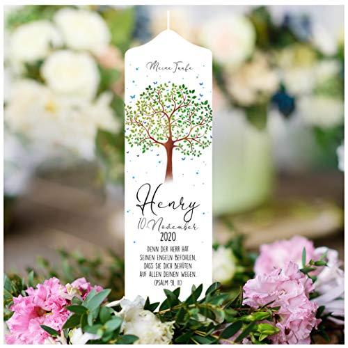 Wandtattoo Loft Taufkerze Junge oder Mädchen Lebensbaum Baum - Kerze zur Taufe, Geburt Kommunion weiß 25 x 7 cm mit Name, Datum, ggf. Taufspruch (abgebildeter Taufspruch)