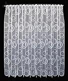Scheibengardine Kringel 120 cm hoch | Breite der Gardine durch gekaufte Menge in 11 cm Schritten wählbar (Anfertigung nach Maß) | Weiß | Vorhang Küche Wohnzimmer