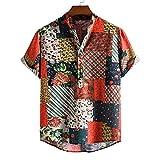 GBEN Camiseta de lino para hombre vintage étnico Henley camiseta de manga corta verano Funky Moda Button Down Very Loud Shortsleeve Surf Unisex Hawaiian Camisa para hombre