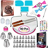 90 pcs Cake Decorating Supplies Kit for Beginners-1 Turntable stand-24...