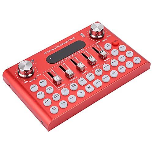 KUIDAMOS Tarjeta De Sonido, Teléfono En Vivo Variedad De Efectos De Sonido Y Efectos Especiales para Cantar Mejor Y Efectos De Transmisión En Vivo(Rojo)