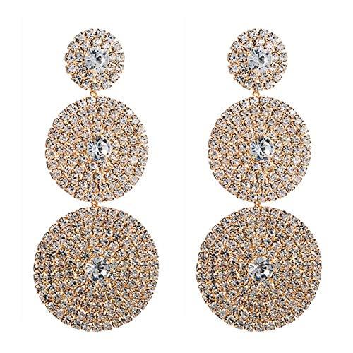 TFGUOqun Moda Pendientes Circulares Circulares de múltiples Capas exageradas Europeas Señoras Brillantes Rhinestone geométrico cuelga Pendientes Partido Joyería Regalos para Mujeres,