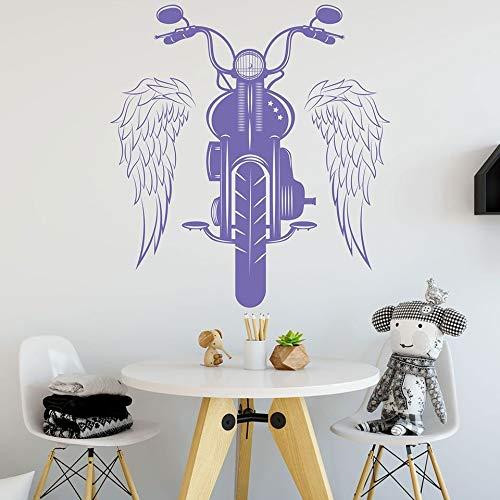 Motocicleta vinilo pegatinas de pared alas montar motocicleta estilo rock calcomanías para puertas y ventanas dormitorio adolescente hombres cueva garaje decoración del hogar