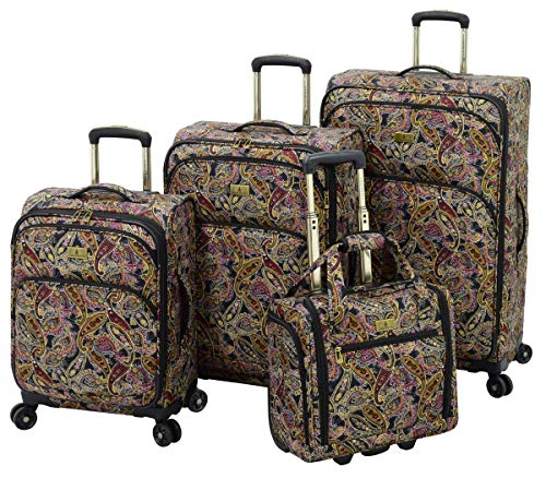 LONDON FOG Cranford Softside Expandable Spinner Luggage, black gold plum paisley, 4 piece set