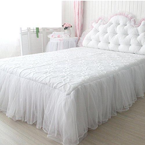 hxxkact Spitze Dekoration Und weiß Bettvolant,Bettrock tagesdecke rüschen Baumwolle Tagesdecke Bettüberwurf Queen-King Princess-Weiß 180x200cm(71x79inch)