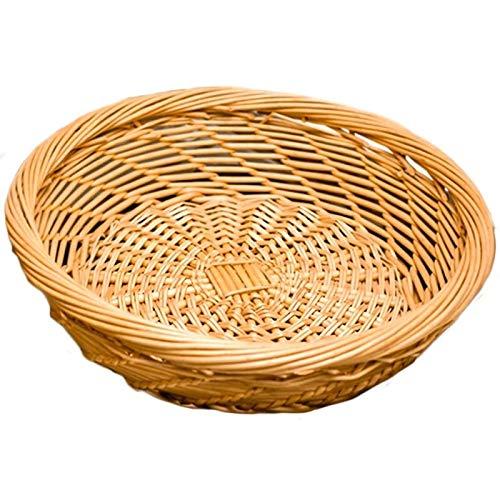 Gather together Wicker Handmade Weaving Storage Basket Fruit Plate Vegetable Storage Box Waterproof Moisture Proof Organizer Bowls Tray(beige