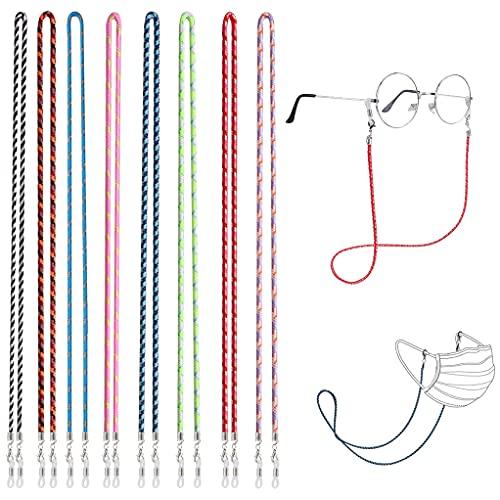 LIPIODOL Cordón para Gafas 8PCS,Cuerda Gafas de Sol, Multicolor Trenzada Cuerda para Gafas, Retenedores de Gafas Sostenedor del Cuello para Mascarilla Correa Gafas