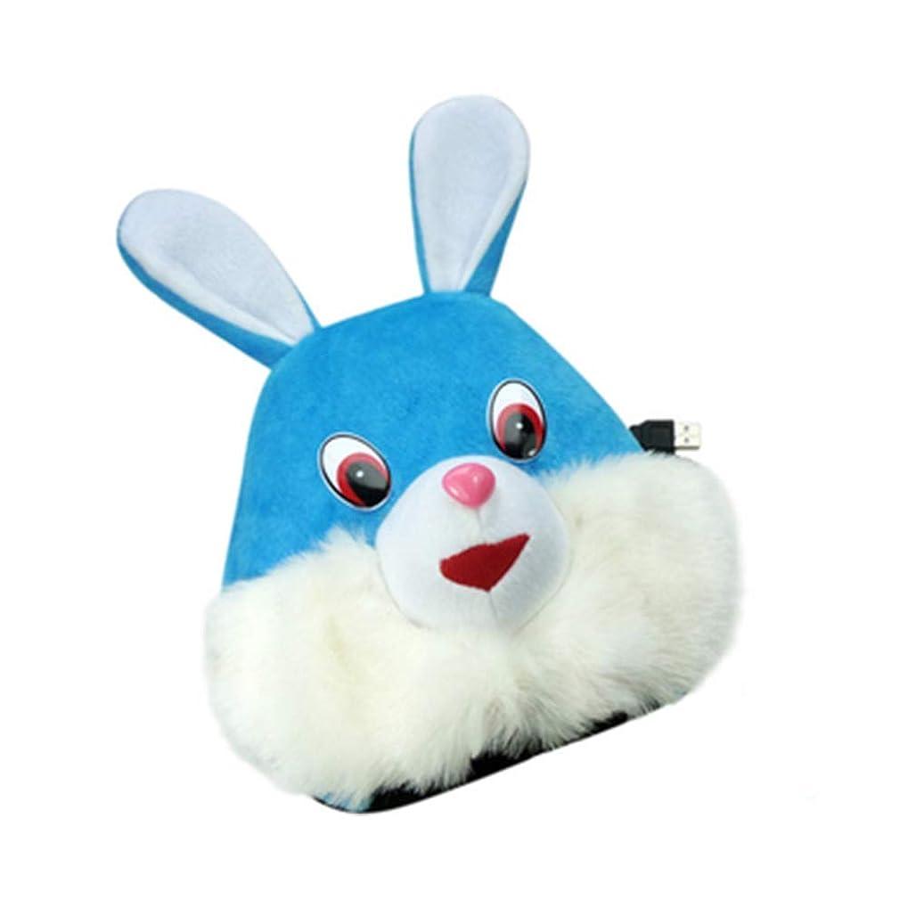 版メナジェリー繊細Chinashow USB 加熱 マウス パッド 一定温度 マウス ハンド ウォーマー 手首 ガード付 (ブルーうさぎ)