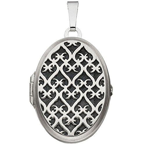 JOBO Medaillon 925 Sterling Silber rhodiniert mattiert