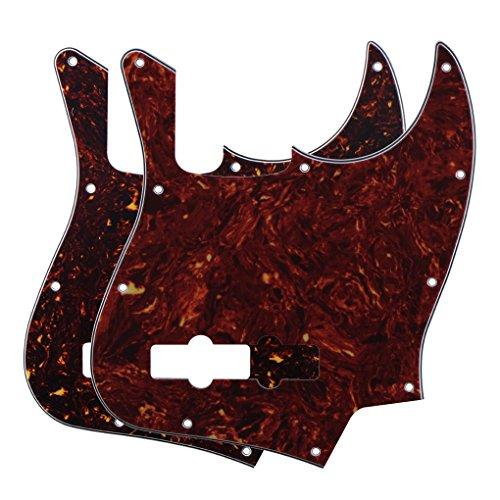 FLEOR 2PCS 10 Schraubenbefestigungslöcher Bassgitarren-Schlagbrett für 4-Saiter Fender USA/Mexikanischer Standard Jazz Bass Moderner Stil, 4-lagige Schildpatt in Rot und Braun