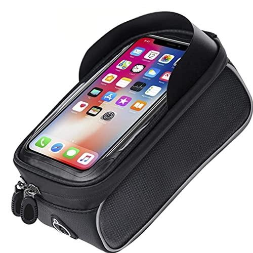Guu Bolsa De Soporte para Teléfono De Bicicleta, Bolsa De Cuadro De Bicicleta Impermeable, Bolsa De Pantalla Táctil De Tubo Frontal De Ciclismo para Teléfonos Inteligentes De Menos De 6.5 Pulgadas