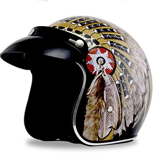 YF-SHIELD Retro Helm Motorhelm, Persoonlijkheid Indian Harley Halve Helm Mannen en Vrouwen Vier Seizoenen Universele Dubbele D Veiligheidsgesp voor Motorfiets Elektrische Tweewielige Voertuig