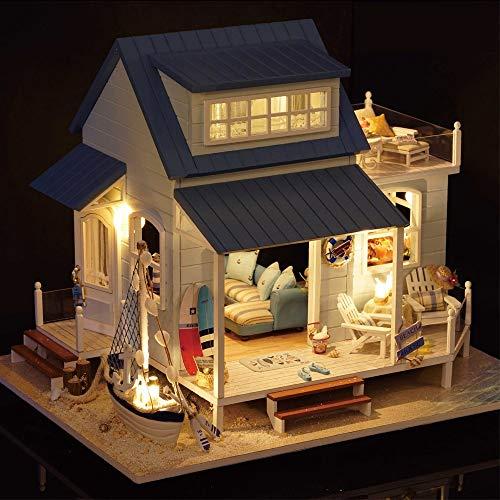Hjd Casa de Madera for muñecas DIY Hecho a Mano Miniatura Casa de muñecas con Music Box Juguetes for niños Año Nuevo Regalo Antiguo Vintage Personalizable
