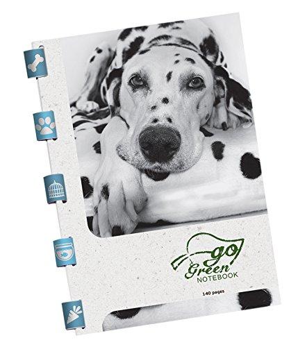 Go Green Notebook schrijfblok Pets met bedrukte papierbinding 140 pagina's gelinieerd, 16,5 x 24,5 cm