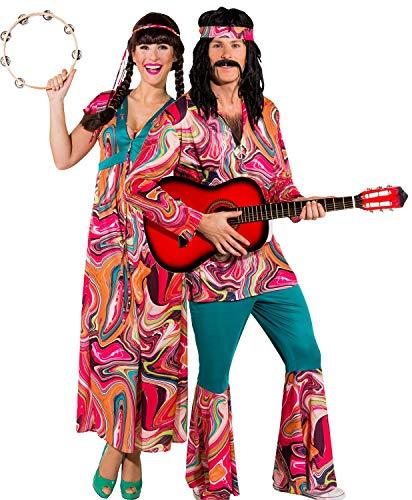 Fancy Me Pärchen Damen und Herren 1960er 1970er Jahre Festival Hippie Woodstock Peace Love Karneval Kostüme Outfits