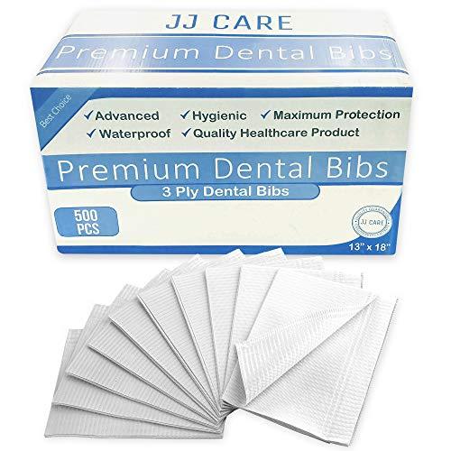 JJ Care Premium White Dental Bibs Pack of 500, 3 Ply Waterproof Bibs 13
