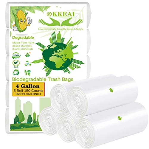 OKKEAI Wastebasket Liners,4,5 Gallon Trash Bags Small Can Liners Garbage Bags,Bathroom Small Biodegradable Trash Bags for Office Kitchen,White,150 Counts,Fits 4-5 Gallon Bins