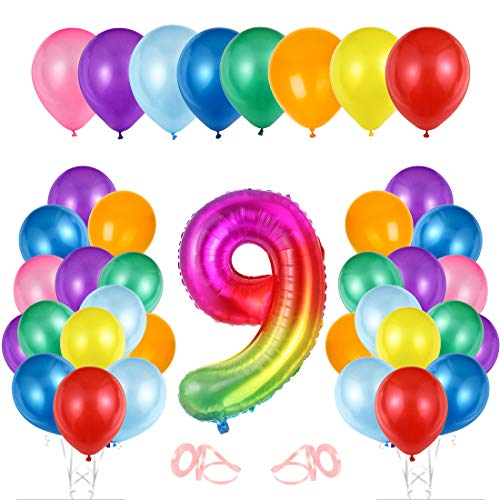 O-Kinee Luftballon 9. Geburtstag Bunte, Geburtstagsdeko 9 Jahr, Happy Birthday Folienballon 9, Deko 9 Geburtstag, Riesen Folienballon Zahl 9, Ballon 9 Deko zum Geburtstag...