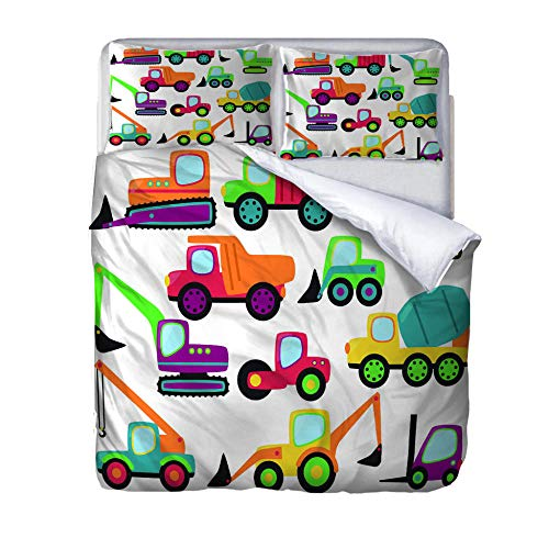 zzqxx Home Superking Duvet Cover Set excavator Bed Set Quilt Cover with Zipper Soft 100% Polyester Includes 2 Pillow Cases 3D Printed Bedding for Boys Girls Adults 260x220cm