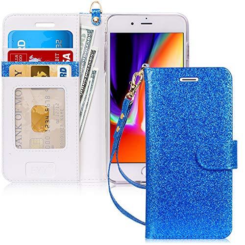 FYY Cover iPhone 8 Plus, Custodia iPhone 8 Plus, Cover iPhone 7 Plus, Flip Custodia Portafoglio Libro Pelle PU con Porta Carte e Chiusura Magnetica per iPhone 7 Plus/8 Plus-Glitter Blu