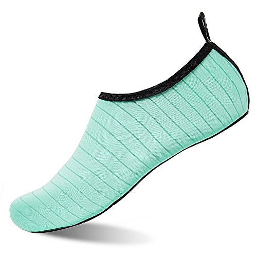 Womens and Mens Kids Water Shoes Barefoot Quick-Dry Aqua Socks for Beach Swim Surf Yoga Exercise (TW.Green, XL)