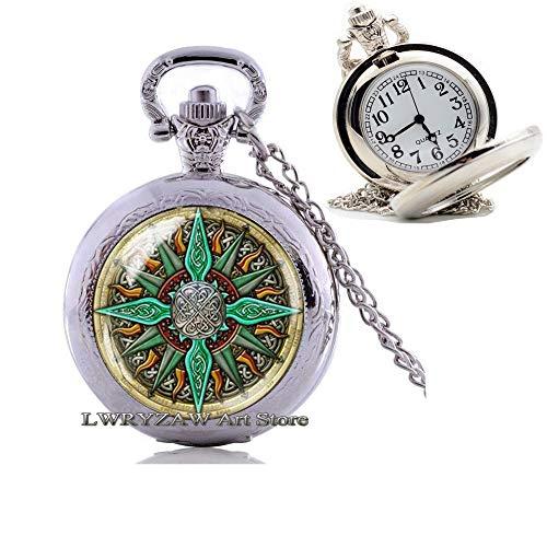 Celtic Compass Pendant, Compass Pocket Watch Necklace, Compass Jewelry, Compass Charm, Celtic Pocket Watch Necklace, Mens nescklace, Jewelry for Men, Man Pendant,M63
