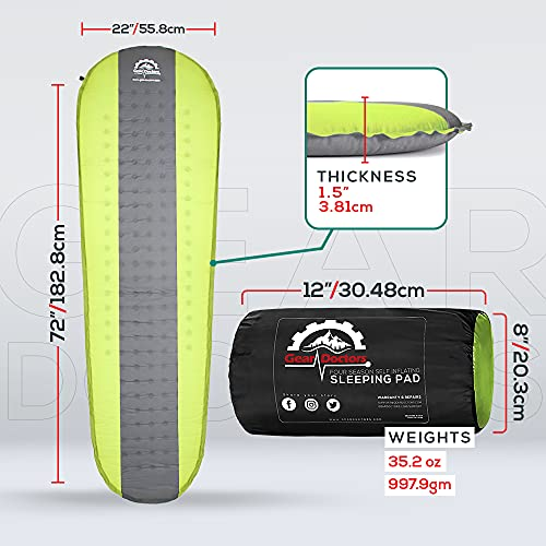 Gear Doctors Self Inflating Sleeping Pad - 4.3 R Four Season Camping pad-1.5 Inch Thick Air Foam Hybrid- Perfect Size Mattress for Camping Backpacking Travel with Insulation for Cold Winters