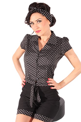 SugarShock Polka Dots PIN UP Retro Rockabilly Kurzarm Wickel Bluse Kurzbluse