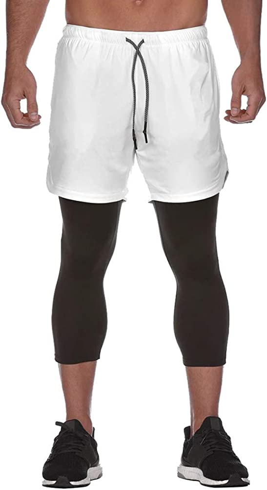 DIOTSR Mens Running 2 in 1 Compression Tights Pants Workout ...