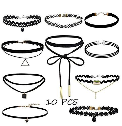 Youkara 10-teiliges Choker-Halsketten-Set für Teenager, Mädchen, Damen, Lederkette, Halskette, Schwarz, klassische Länge, verstellbar