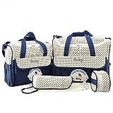 U/A Gedruckte 5 Stück Wickeltasche Set/Multifunktion Mutter Handtasche Schultertasche/Flasche Taschen/Baby Wickelauflage (Marine, Eine Größe)