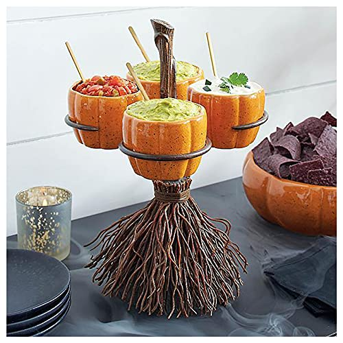 Halloween Pumpkin Snack Bowl Stand - Halloween Creative Snack Basket, Candy Holder Bowl, Adorable Broomstick Snack Bowl Stand, Perfect for Serving Snack Salad Dessert, Halloween Party Decor (4 Bowls)