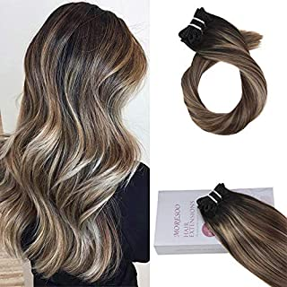 Moresoo 18 Inch Clip on Hair Extensions Balayage Color #1B Off Black Fading to #4 Dark Brown Highlight With #14 Dark Golden 120G Clip in Full Head Human Hair Extensions
