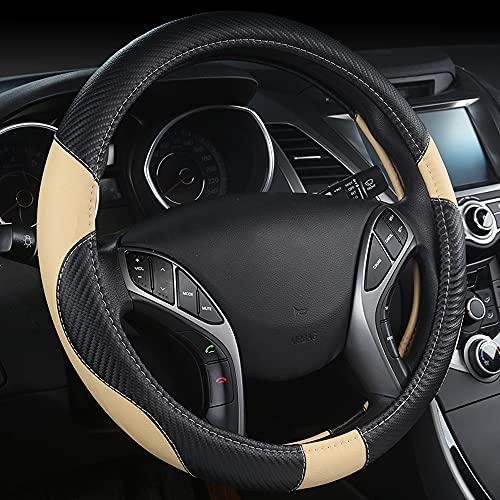 Coprivolante per Auto, Protezione Custodia Volante Cover in Pelle Microfibra 37-38cm / 15inch, Protezione Antiscivolo Traspirante Durevole per Auto (Beige)