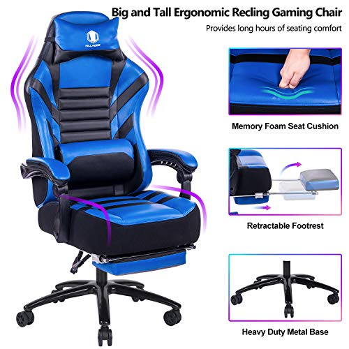 VON RACER Big & Tall 400lb Memory Foam Reclining Gaming Chair Metal Base - Adjustable Back Angle and Retractable Footrest Ergonomic High-Back Leather Racing Executive Computer Desk Office Chair, Blue blue chair gaming