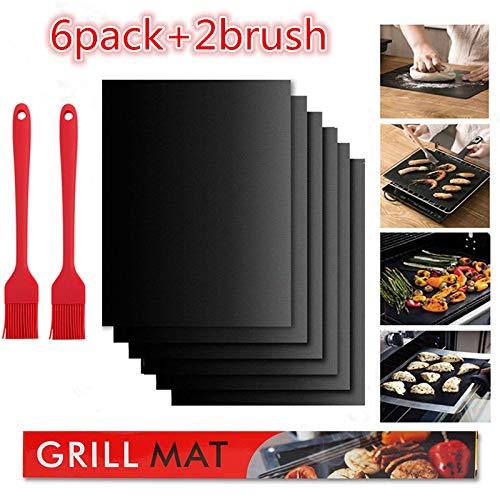 Nifogo BBQ Grillmatte (6er Set) zum Grillen und Backen mit 2 Oil Brush, Antihaft BBQ Grill-und Backmatte Wiederverwendbar Frei, 40 x 33 cm – Ideal für Kohlegrill, Gasgrill, Elektro Grill (Schwarz)