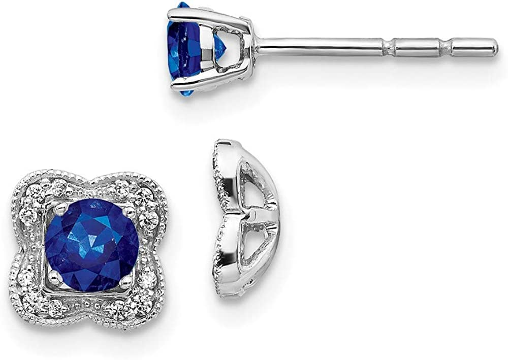 14k White Gold Diamond Sapphire Stud Jacket Earrings Ball Button Birthstone September Fine Jewelry For Women Gifts For Her