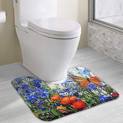 Hoklcvd Personalisierte Toilette Teppich-Schöne Schmetterling und Blumen WC U-förmige MatCartoon Soft Mat Dusche Boden Teppich Badezimmer