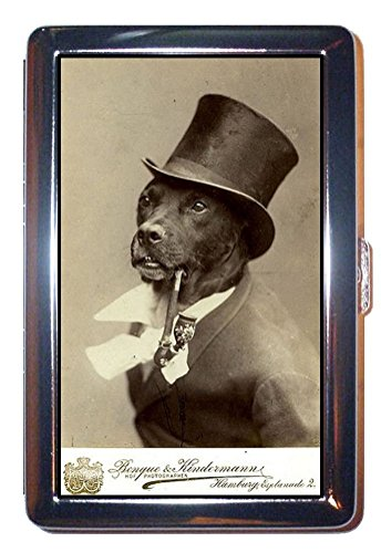 Dog Smokes Pipe in Tophat Victorian B&W Photo ID Wallet or Cigarette Case USA Made