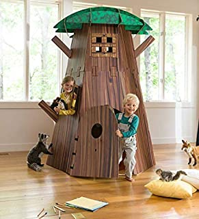 HearthSong Big Indoor Tree Fort Kit Multi-Kid Indoor Play Spacious Heavy-Duty Construction Easy Assembly 7'Hx58 diam. Ages 4 and Up