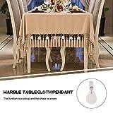 UPKOCH Tischdeckenbeschwerer Marmor Stein Tischdeckengewichte Tischtuchklammer Tischtuchhalter für Dicke Tischplatten Drinnen Draußen Garten Picknicks Party Küche Restaurant 4 Stück Weiß - 6