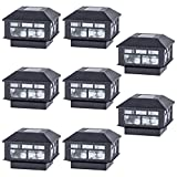 POWGDLT Solar Post Cap Lights Outdoor 10 Lumen Double LED Fence Post Solar Powered Waterproof Light...