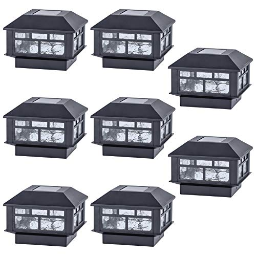 POWGDLT Solar Post Cap Lights Outdoor 10 Lumen Double LED Fence Post Solar Powered Waterproof Light for 4x4 or 5x5 Wood Posts in Patio, Deck or Garden Decoration, 8 Pack……