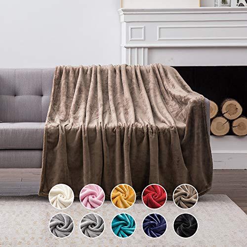MIULEE Kuscheldecke Samt Decke Einfarbig Wohndecken Couchdecke Flauschig Überwurf Mikrofaser Tagesdecke Sofadecke Blanket Für Bett Sofa Schlafzimmer Büro 125x150 cm Braun